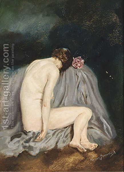 A Female Nude by English School - Reproduction Oil Painting