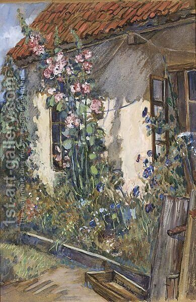 Cottage Garden by Sientje Mesdag Van Houten - Reproduction Oil Painting