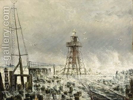 Phare At The End Of The North Breakwater, Tide Coming In At The Hoek Vanholland by Cornelis Christiaan Dommelshuizen - Reproduction Oil Painting