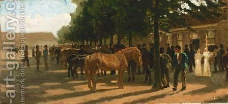 Horsemarket by (after) Cornelis Schermer - Reproduction Oil Painting