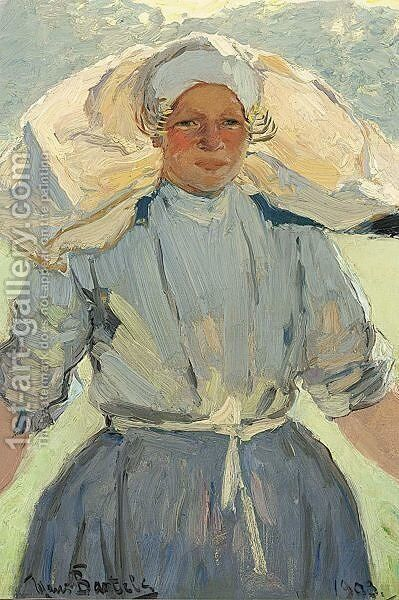A Dutch Fishergirl by Hans Von Bartels - Reproduction Oil Painting