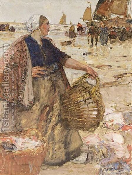 A Dutch Fisherwoman Holding A Basket On A Crowded Beach by Hans Von Bartels - Reproduction Oil Painting