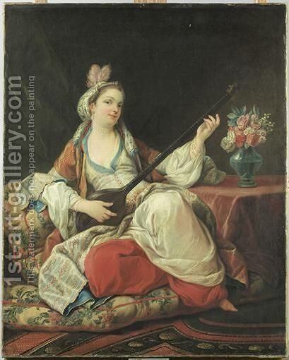 Une Sultane Jouant D'Un Instrument A Cordes by (after) Carle Van Loo - Reproduction Oil Painting