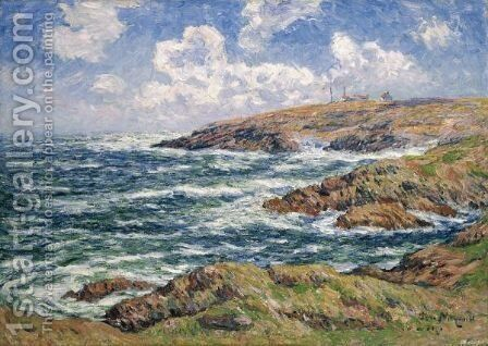 Le Semaphore, Cote De Bretagne by Henri Moret - Reproduction Oil Painting