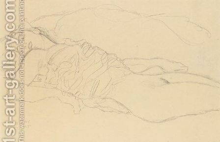 Liegende (Reclining Woman) by Gustav Klimt - Reproduction Oil Painting