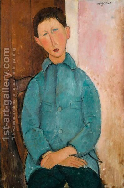 Garcon A La Veste Bleue by Amedeo Modigliani - Reproduction Oil Painting