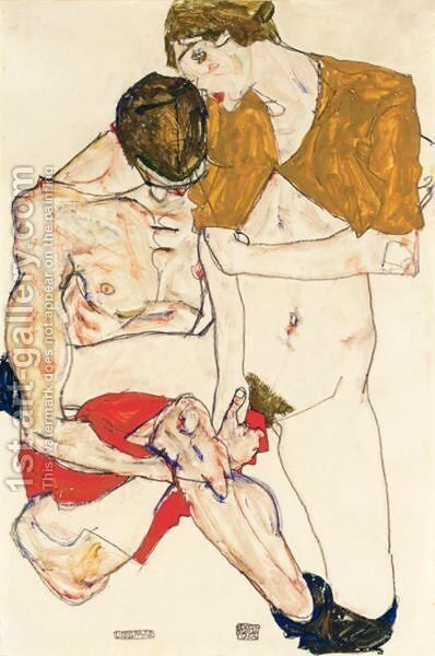 Liebespaar (Lovers) by Egon Schiele - Reproduction Oil Painting
