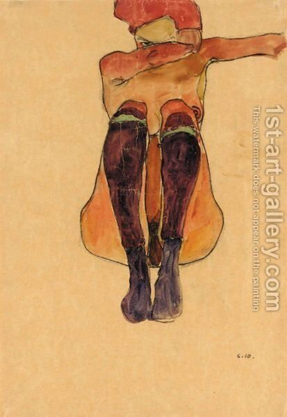 Sitzender Akt Mit Lila Strumpfen (Seated Nude With Violet Stockings) by Egon Schiele - Reproduction Oil Painting