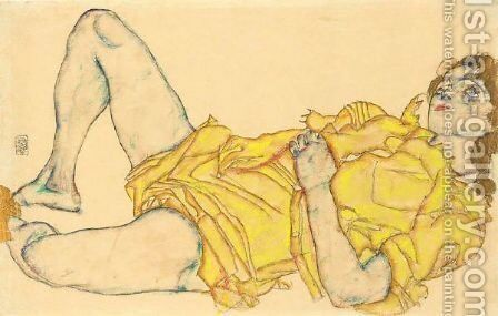 Liegende Frau In Gelbem Kleid (Reclining Woman In Yellow Dress) by Egon Schiele - Reproduction Oil Painting