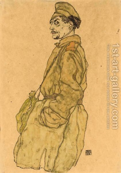 Kriegsgefangener Russe (Russian Prisoner Of War) by Egon Schiele - Reproduction Oil Painting