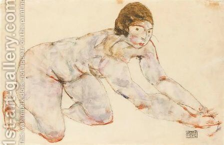 Kniender Weiblicher Akt (Crouching Female Nude) by Egon Schiele - Reproduction Oil Painting