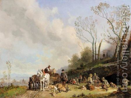 Jagdgesellschaft (The Hunting Party) by Heinrich Bürkel - Reproduction Oil Painting