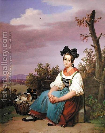 Die Entenverkauferin (Girl Selling Ducks) by Theodor Leopold Weller - Reproduction Oil Painting
