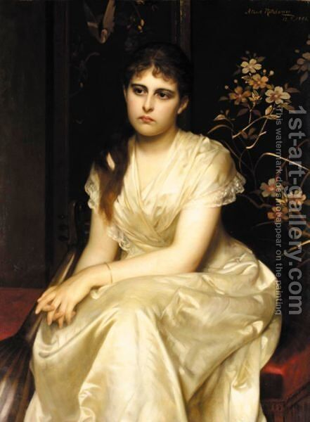 In Traumen Versunken (A Pensive Moment) by Albert Ritzberger - Reproduction Oil Painting