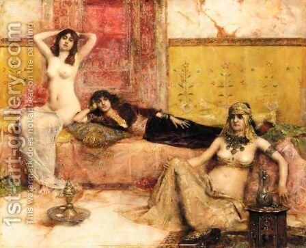 L'Attente Odalisques Dans Le Harem by Maurice Bompard - Reproduction Oil Painting