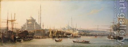 La Corne D'Or (The Golden Horn With The Suleimaniye And The Fatih Mosques, Constantinople) by Antoine Leon Morel-Fatio - Reproduction Oil Painting