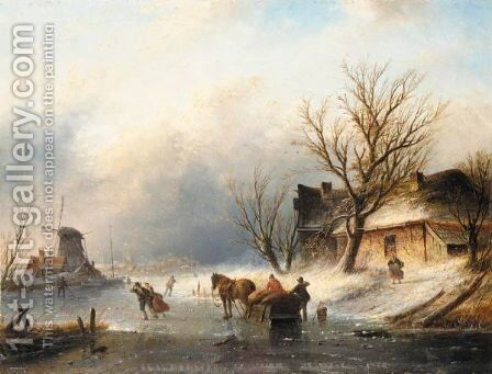 Figures Skating On A Frozen River Near A Windmill by Jan Jacob Coenraad Spohler - Reproduction Oil Painting