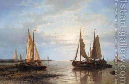 Sailing In Calm Waters by Abraham Hulk Jun. - Reproduction Oil Painting