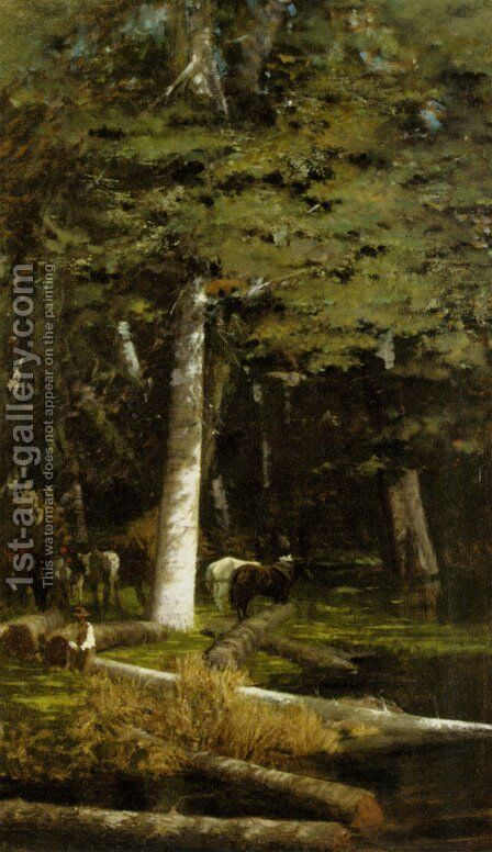 Nella Foresta by Giuseppe de Nittis - Reproduction Oil Painting