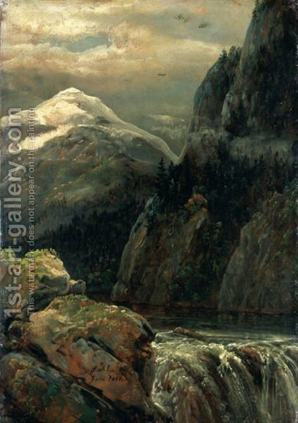 Nordisk Landskap Ved Innsjo (Nordic Landscape With A Lake) by Johan Christian Clausen Dahl - Reproduction Oil Painting