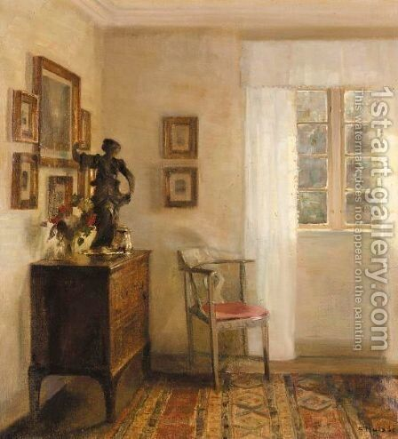 Interieur Med Chatol (Interior With A Bureau) by Carl Vilhelm Holsoe - Reproduction Oil Painting