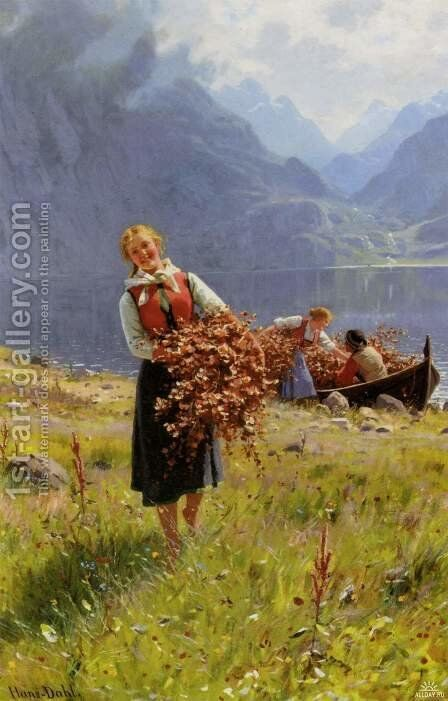 Sommerdag Ved En Norsk Fjord (A Summer Day On A Norwegian Fjord) by Hans Dahl - Reproduction Oil Painting