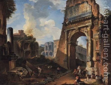 Veduta Ideata Con L'Arco Di Tito by Giovanni Paolo Panini - Reproduction Oil Painting