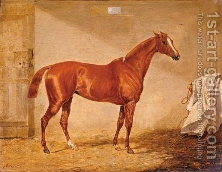 A Racehorse In A Loose Box by Henry Thomas Alken - Reproduction Oil Painting