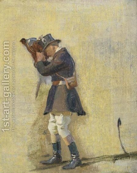 Blenheim Groom Cinching A Girth by Sir Alfred James Munnings - Reproduction Oil Painting