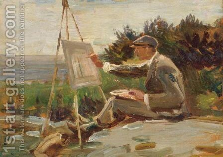An Artist Painting Near Lamorna, Cornwall by Sir Alfred James Munnings - Reproduction Oil Painting