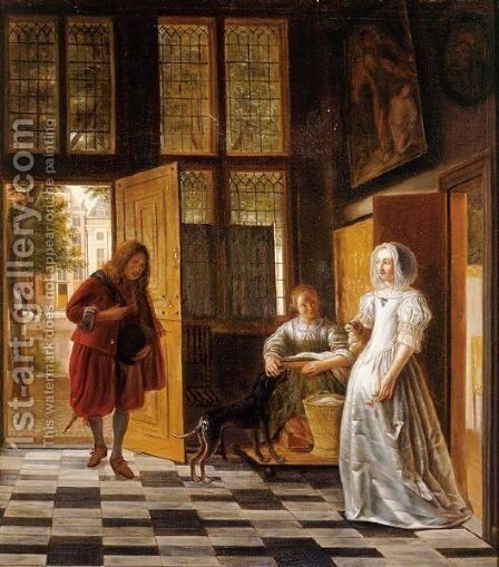 A Woman Receiving A Man At A Door by (after) Pieter De Hooch - Reproduction Oil Painting