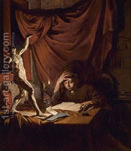 A Young Scholar Reading By Lamplight In A Study With An Ecorche Model And A Plaster Head Of A Putto On A Table by Job Adriaensz. Berckheyde - Reproduction Oil Painting