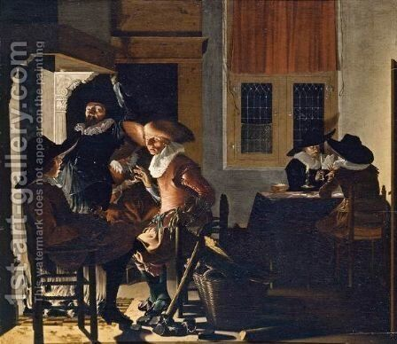 Soldiers In A Guardroom by (after) Willem Cornelisz. Duyster - Reproduction Oil Painting