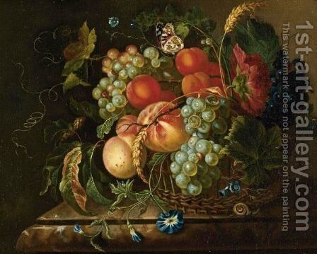Still Life Of Fruit And Flowers In A Basket Resting On A Marble Ledge, With A Butterfly And A Snail by Dutch School - Reproduction Oil Painting