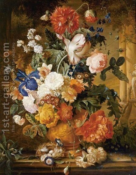 Peonies, Roses, Carnations, An Iris, Anemones, Auricula And Other Flowers In A Terracotta Vase, With Orange Blossom, Morning Glory And A Birds Nest On A Marble Ledge, A Colonnade Beyond by Melanie de Comolera - Reproduction Oil Painting