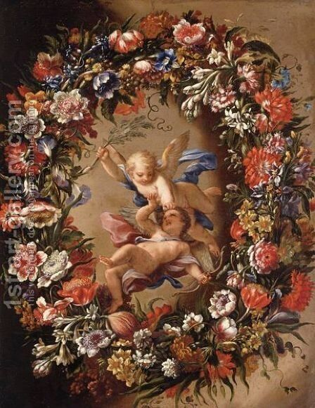 Putti Surrounded By A Garland Of Flowers by Giovanni Stanchi - Reproduction Oil Painting