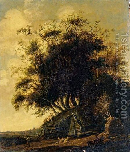 A Wooded Landscape With Figures Thatching A Barn, A View Of A Town Beyond by Anthony Jansz van der Croos - Reproduction Oil Painting