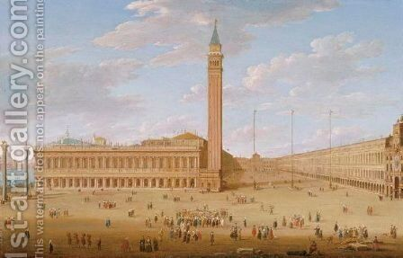 The Piazza San Marco With The Piazzetta, Venice by Hendrik Frans Van Lint - Reproduction Oil Painting