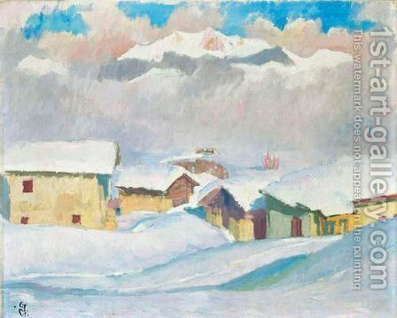 Winterlandschaft, 1927 by Giovanni Giacometti - Reproduction Oil Painting