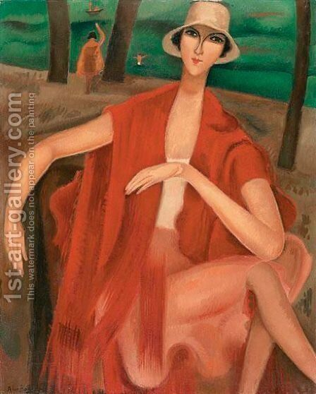 Femme En Rouge by Alice Bailly - Reproduction Oil Painting