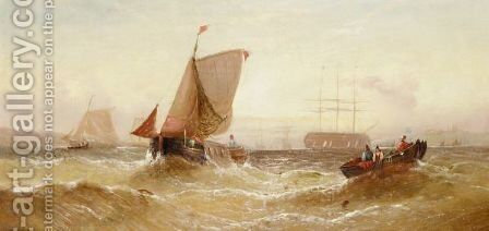 Fishing Boats by (after) William Calcott Knell - Reproduction Oil Painting