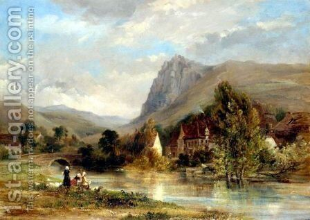 Washing On The River by Thomas Miles Richardson - Reproduction Oil Painting