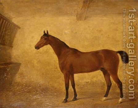 Portrait Of A Bay Horse In A Loose Box by (after) Harry Hall - Reproduction Oil Painting