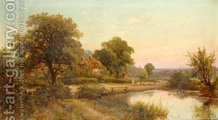 Shepherd By A Lake by (after) Henry Deacon Hillier Parker - Reproduction Oil Painting
