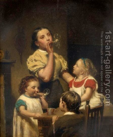 Blowing Bubbles by Hugh Collins - Reproduction Oil Painting