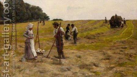 A Break From The Harvest, Sussex by James Charles - Reproduction Oil Painting