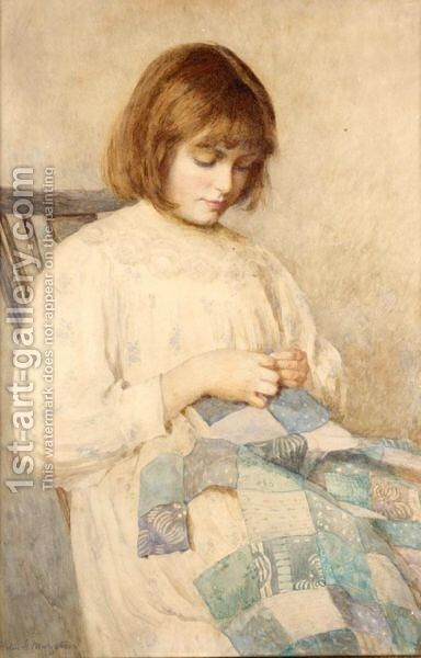 Beryl Sewing by Helen Howard Margetson - Reproduction Oil Painting