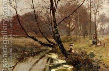 By The River Bank by Hector Caffieri - Reproduction Oil Painting