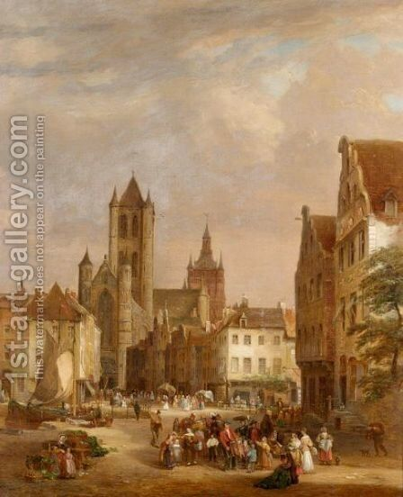 St Nicholas Church, Ghent by Joseph Barter - Reproduction Oil Painting