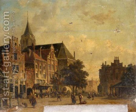 Dutch Town Scene by Adrianus Eversen - Reproduction Oil Painting